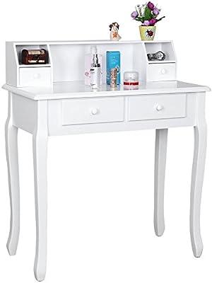 Helloshop26 Coiffeuse Table Maquillage Bois, Blanc, 80 x 40 x 93 cm