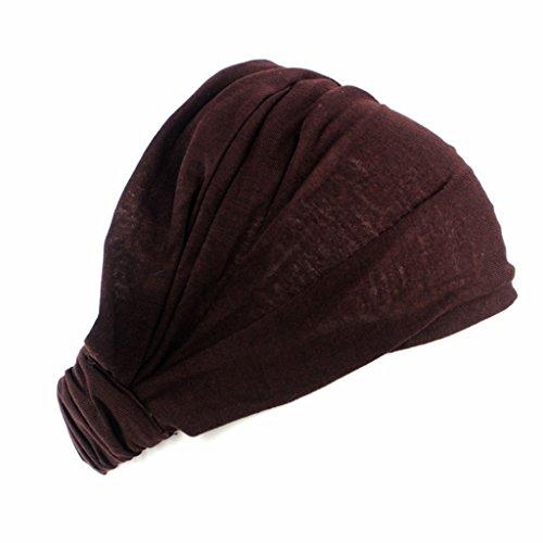 Lunji Turban Bandeau Cheveux Femme Cotton Headband Elastique pour Maquillage/Lave ton visage/Sport/Yoga (Brown)