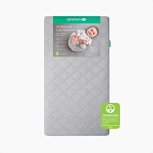 """Newton Baby Crib Mattress and Toddler Bed - Waterproof - 100% Breathable Proven to Reduce Suffocation Risk, 100% Washable, Better Than Organic, 2-Stage Removable Cover - Deluxe 5.5"""" Thick - Grey"""