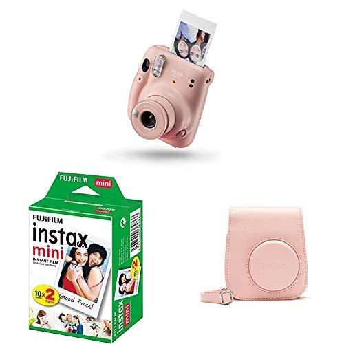 Fujifilm Instax Mini 11, Fotocamera a Sviluppo Istantaneo, Modalità Selfie, Esposizione Automatica, Foto Formato Mini 62 x 46 mm, Pellicola, Custodia, Rosa (Blush Pink)
