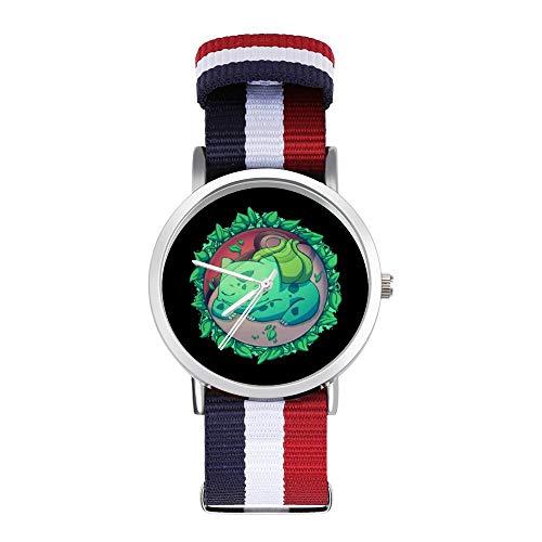 Bulbasaur - Reloj de pulsera trenzado, diseño de bola de hierba oculta con escala, color negro