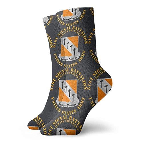 FJXXM Calcetines De Algodón,51.O Batallón De Señales Calcetines De Equipo Del Ejército De Ee. Uu. Calcetines Decorativos De Vestir De Moda Para Correr Escalada,30cm
