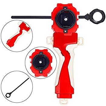 Marbe Bey Gyro Blades Launcher and Grip Battling Burst Light Sparking String Launcher Gyro Right Spin Top  Red