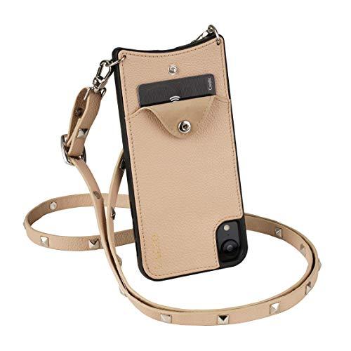 LAZZO Handykette [Dora] für Apple iPhone 7/8/SE 2020 mit Kreditkartenfach - Handyhülle zum Umhängen (Beige - mit Nieten)