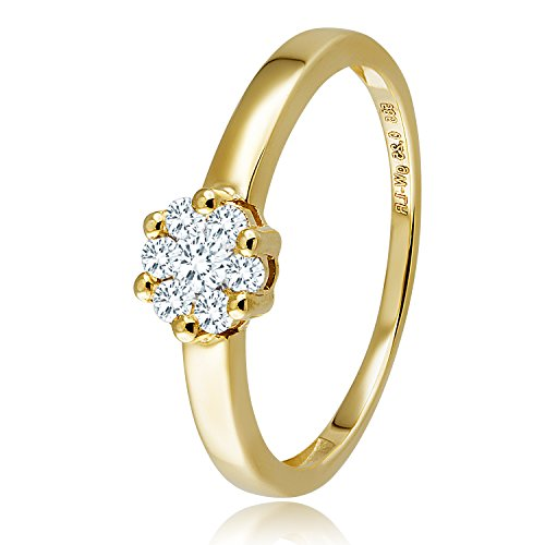 Diamond Line Diamant-Ring Damen 585 Gold mit 7 Diamanten Lupenrein