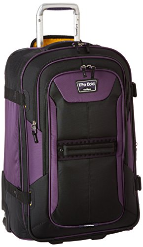 Travelpro Bold-Softside Expandable Rollaboard Upright Luggage, Purple/Black, Checked-Medium 25-Inch
