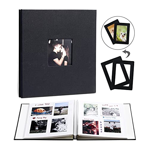 Beydodo Álbum de fotos para pegar, álbum de fotos DIY con 80 páginas, álbum de fotos, álbum de fotos, álbum de fotos para personalizar, para bodas, cumpleaños, libro de familia, color negro