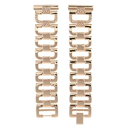 UKCOCO Compatible con Galaxy Watch Active 2 20Mm Reloj Pulseras para Diamantes de Imitación Aleación de Zinc Pulsera de Metal Reemplazo Mujeres Hombres Reloj Correa Oro Rosa