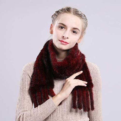 WEIYIM Frauen Imitation Nerz Schal Schalldämpfer handgemachte gestrickte Imitation Nerz Schal Schals