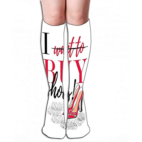 High Socks slogan ik wil kopen schoenen hoge hak hand tekening mode als sjabloon banner print kleding pakket Tegel L 19.7