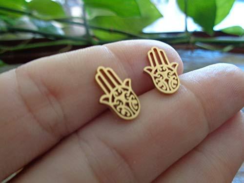 HAND GOLD EDELSTAHL STECKER goldfarbene Ohrringe, Fatimas Hand, Hamsa, antiallergisch, Stecker