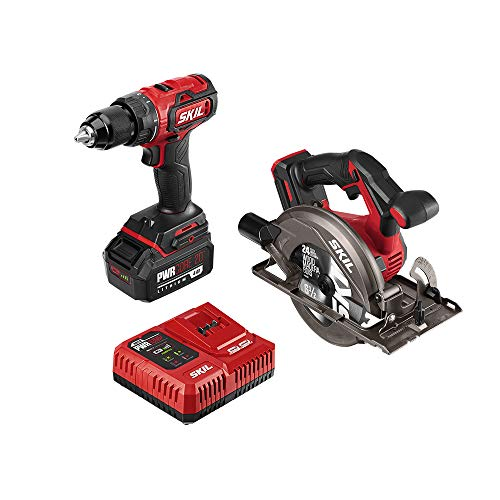 SKIL 2-Tool Combo Kit: PWRCore 20 Brushless 20V Cordless Drill Driver and Cordless Circular Saw, Includes 4.0Ah Lithium Battery and PWRJump Charger - CB743901