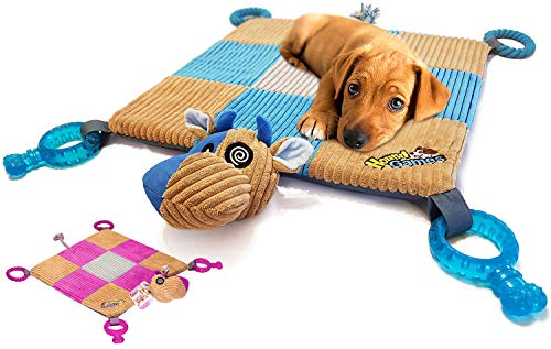 """HOUNDGAMES Puppy Toy Mat with Teething Chew Toys (20"""" x 20"""") - Ropes, Squeaker Nose, Plush Padded Sleeping Mat – Durable and Machine Washable - Comfort and Fun, All-in-One"""