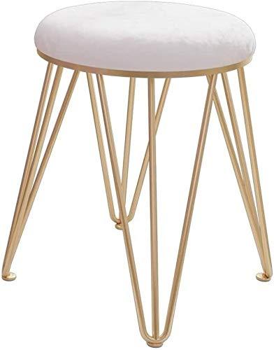 Taburete de tocador de hierro forjado con patas de metal dorado, taburete moderno y pequeño redondo para sala de estar, dormitorio, 2122 (color: blanco)