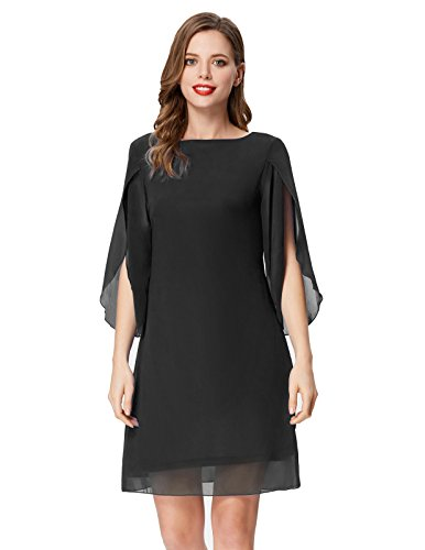GRACE KARIN Women Casual 3/4 Sleeve Work Dress Loose Tunic Chiffon Dress Plus Size Black XXL