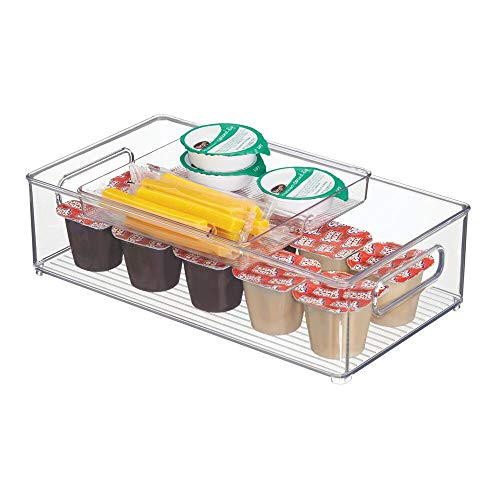 mDesign Juego de 2 cajones de cocina con bandeja – Práctico cajón de plástico para la despensa o el refrigerador – Espaciosa caja organizadora con compartimentos en la bandeja – transparente