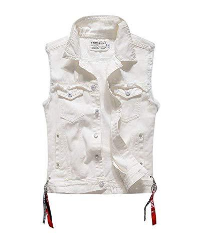 Herren Weste Stehkragen Denim Jeans White Jeansweste Rmellose Jeansjacke Weste Herrenmode Slim Fit Denim Weste (Color : Weiß, Size : S)