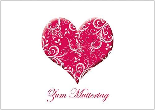 Muttertagskarte Glückwunschkarte Klappgrusskarte mit einem Herz in Rot und florales Muster in Weiß. Text: Zum Muttertag (Mit Umschlag) (1)