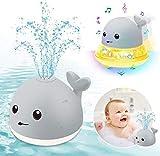 ENJSD Kinder Schwimmende 2 in 1 Badespielzeug Baby Wasserspielzeug Automatische Induktions Sprinkler Wal mit Licht und Musik, Babyspiel Wasserbad Spielzeug für Baby Kleinkinder(Grau Wal)