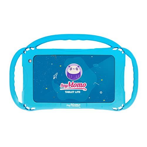 SoyMomo Tablet Lite - Tablet para niños con Control Parental, Detección de Contenido Peligroso, Pantalla 7 Pulgadas, 16 GB Almacenamiento, 2 GB RAM, Cámara - con Funda de Silicona Azul