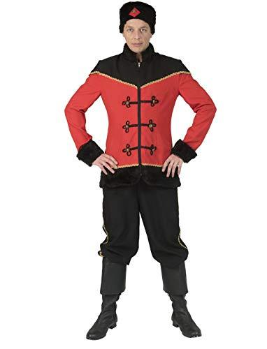 Luxuspiraten - Herren Männer Russisches Kosaken Kostüm mit Jacke, Hose und Hut, perfekt für Karneval und Halloween, L, Rot