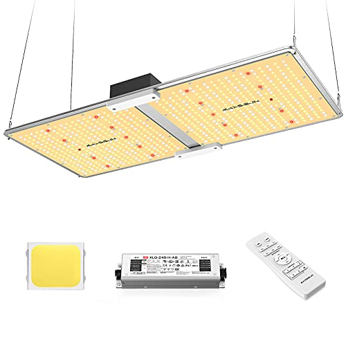 MAXSISUN PB2000 Pro Grow Light, 200W LED Grow Lights for Indoor Plants Full Spectrum Uses Samsung Diodes and Mean Well Driver Remote Control Dimmable Growing Lamps for a 4'x2' Grow Tent Veg & Bloom
