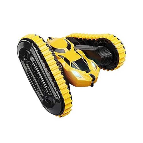 LSB-SHOWER 2 in 1 RC Auto 2.4Ghz Stunt Drift Car Tank Tracked Car Jumping Car 360 ° Flip RC Giocattoli per Veicoli con Luce a LED ( Color : Yellow )