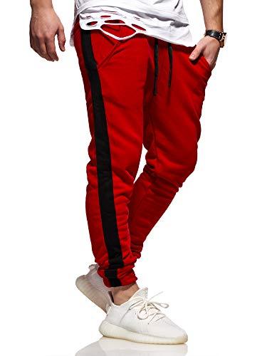 behype. Herren Lange Trainingshose Jogging-Hose Sport-Hose Side-Stripe 60-2111 Rot S
