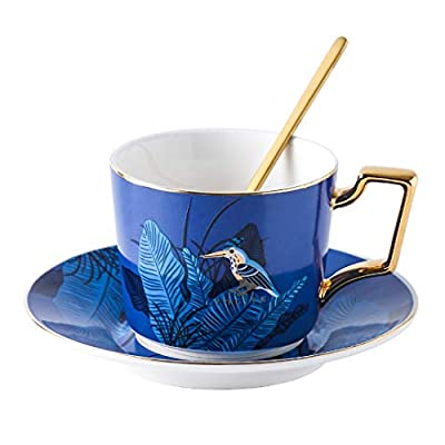 YOLIFE Night Bird Tea Cup Set,Ceramic Coffee Cup and Saucer Set - 8 oz