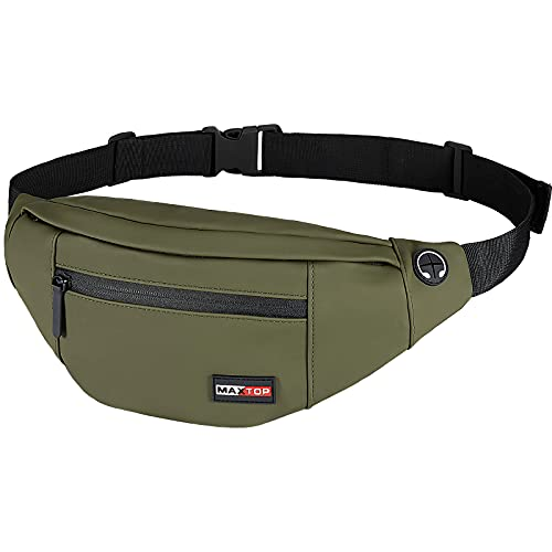 MAXTOP Large Crossbody Fanny Pack with 4 Zipper Pockets