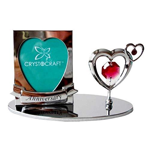 Crystocraft - Cornice portafoto per anniversario di anniversario, con cristalli Swarovski, in confezione regalo, colore: Rosso placcato argento cromato