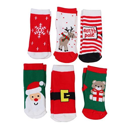 NUOBESTY 6 Paires de Chaussettes de noël Enfant Chaussettes Santa Claus Snow Crew pour bébés garçons Filles Cadeau de Vacances Automne Hiver Chaussettes Chaudes