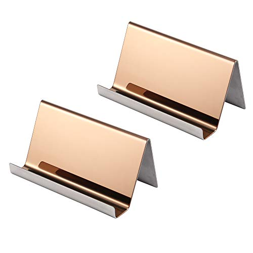 YOSCO - Tarjetero de acero inoxidable para tarjetas de visita, para escritorio, oficina, negocios, organizador, para tarjeta de nombre, presentación de tarjetas de visita, 2 unidades, color oro rosa