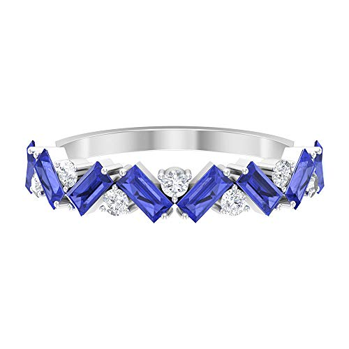 Banda de eternidad en zigzag, anillo de tanzanita con forma de baguette de 1,2 ct, anillo redondo de diamantes de 1/4 ct, anillo de boda único, 14K Oro blanco, Size:EU 47