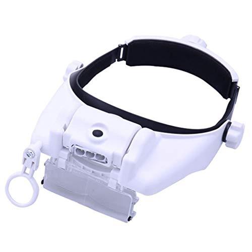 拡大レンズウェアラブルUSB充電可能な3つのLEDメガネ複数の取り外し可能なズーム機械メンテナンス高齢者の読書ブックジュエリークラフト腕時計、電子