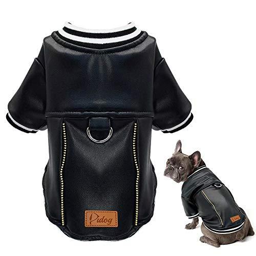 Didog Leren Puppy Hond Jack, Waterdichte Hond Winter Jas, Koud Weer Baseball Jas voor Kleine Honden, Chest-17.5