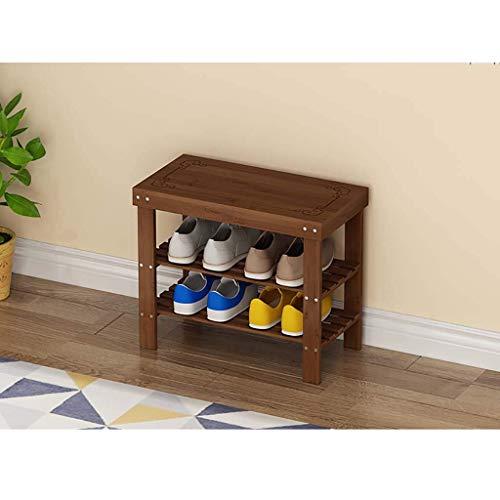 XBCDX Zapatero de bambú de 3 Niveles Banco, Largo 50 cm / 58 cm / 69 cm Estante Organizador de Zapatos con Asiento, Taburete de Almacenamiento, Organizador de Almacenamiento de Zapatos Ideal para