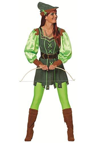 narrenkiste W4338-42-A - Disfraz de cazador con capucha para mujer, talla 42, color verde