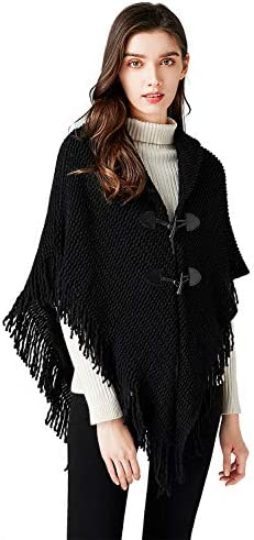 Bellady Women s Loose Poncho Shawl Cardigan Sweater Open Front Cape Cardigan with Fringed Hem product image