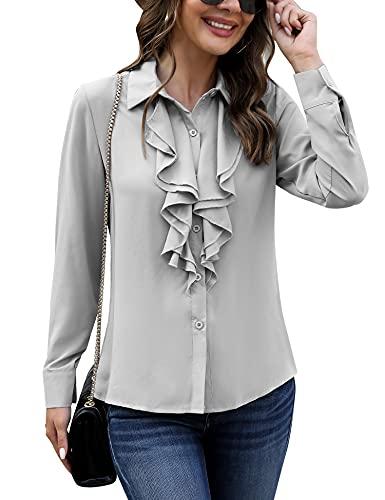 Irevial Elegancka biznesowa bluzka szyfonowa, bluzka z szyfonu, koszulka z długim rękawem, guziki, odświętna, szary, M