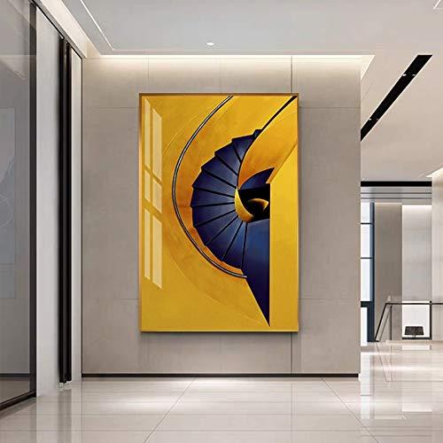 N / A Sin Marco Escaleras Amarillas abstractas Carteles e Impresiones de Lienzo Pintura de Entrada Cuadros de Pared Modernos para Sala de Estar Pasillo Moda Arte de Pared