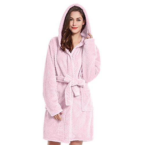 DecoKing Bademantel mit Kapuze S rosa kurz Damen Herren Unisex Morgenmantel Steppung weich leicht kuschelig Microfaser Fleece Sleepyhead
