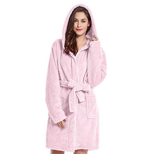 DecoKing Bademantel mit Kapuze XL rosa kurz Damen Herren Unisex Morgenmantel Steppung weich leicht kuschelig Microfaser Fleece Sleepyhead