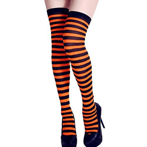 BBsmile Calcetines Altas de Mujer para Halloween Disfraz, Medias Niña Colores Impresión de Rayas Tubo Largo Decoracion de Ropa