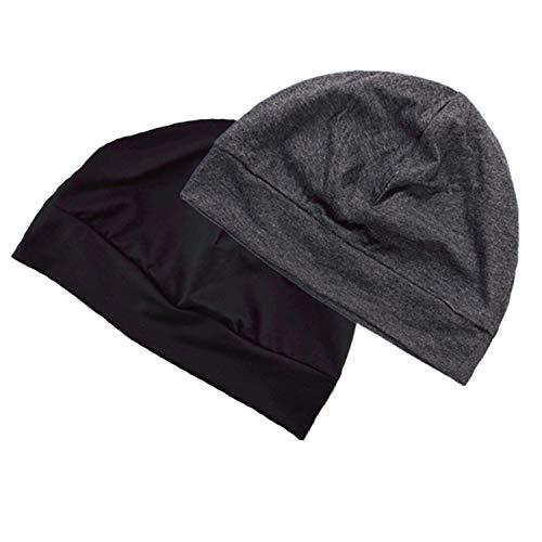 Headshion Skull Cap for Men/Women, 2-Pack Multifunctional Headwear Bike Hard Hat Helmet Liner Cotton Beanie Sleep Caps