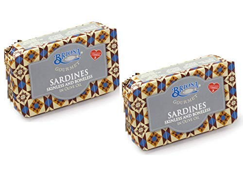 Briosa Gourmet Sardine Senza pelle e Senza Lische in Olio di Oliva Ricche di Omega Tre - 2 x 120 Gram