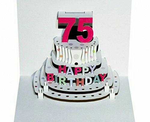 Forever Pop Up 3D Karte Geburtstagskarte 75 Geburtstag Gutschein Torte 16x11cm