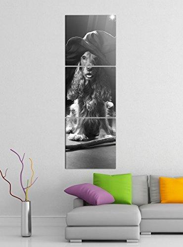 Leinwandbild 3tlg Hund Hexe Hut Hexenbesen Halloween schwarz weiß Bilder Druck auf Leinwand Vertikal Bild Kunstdruck mehrteilig Holz 9YA5116, Vertikal Größe:Gesamt 30x90cm