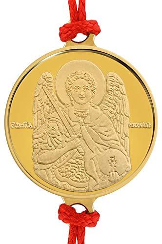Pulsera artesanal de hilo rojo con delicada medalla de oro 18 Ktes religiosa San Miguel Arcángel 0.06 oz. Talla única con Sistema de Nudo corredizo.