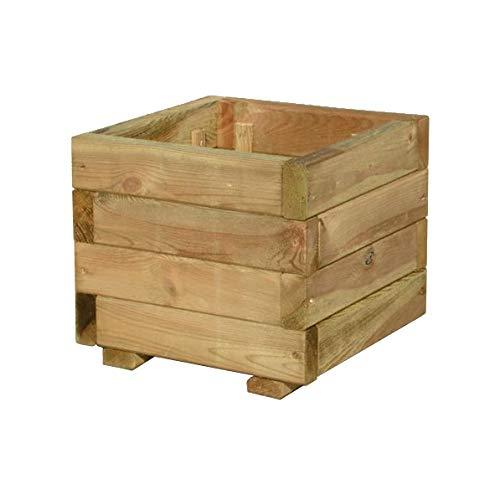 FKL Jardinera de madera para jardín o terraza, macetero de madera, macetero de madera, macetero verde impregnado, listo para montar, D23 (30 x 30 x 24 cm)